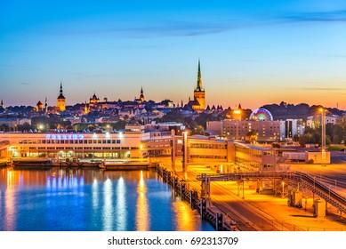 Tallinn, Estonia harbor and skyline.
