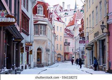Tallinn, Estonia - January 05, 2017: one of the famous tourist streets in the old town - Vana Tallinn