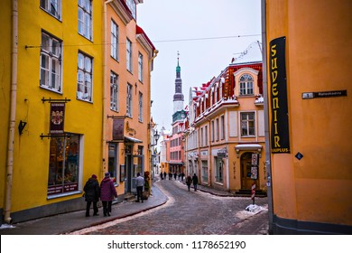 TALLINN, ESTONIA - January 2018: Old town of Tallinn, old narrow streets and ancient buildings. Medieval architecture of Tallinn old town, Estonia