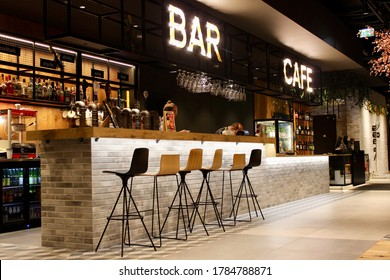 Tallinn, Estonia, January 2020: Elegant and modern Cafe. Modern style. Serves coffee and drinks. Interior and decoration of a Modern loft coffee shop, cafe, bar