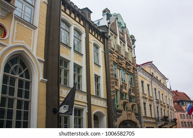Tallinn, Estonia - January 3, 2018: Central streets of the old town of Tallinn