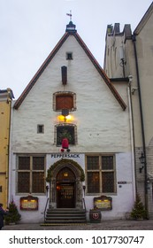 Tallinn, Estonia - January 3, 2018: Famous Restaurant in historical building of Old Town in Tallinn, Estonia