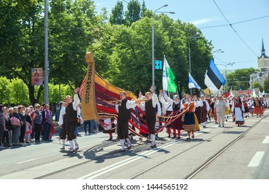 Tallinn, Estonia - JUL 06, 2019: Saare Maakond collective on parade during Estonian Song Festival
