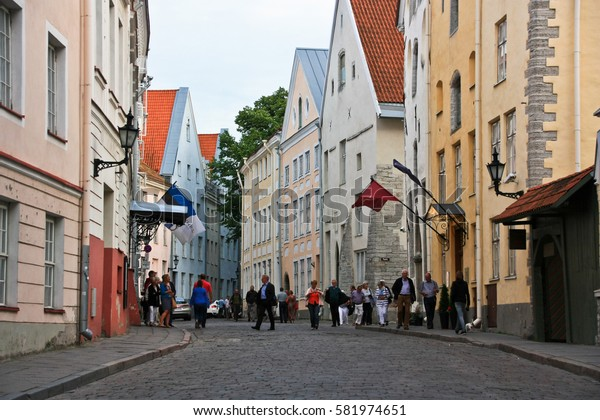 TALLINN, ESTONIA -JUL 20,2016: Pikk tanav