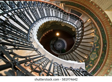 TALLINN, ESTONIA -JUL 20,2016: Estonia pst, Bank of Estonia Museum. Spiral staircase in the beautiful hall