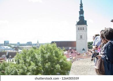 Tallinn / Estonia - July 17 2016: Tourists at a Scenic Overlook