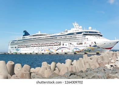 Tallinn / Estonia - July 17 2016 - Norwegian Star Cruise Ship at Port with Rocks