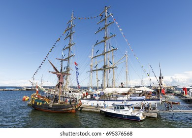TALLINN, ESTONIA - JULY 18, 2017: Sailing ships in harbor during Maritime Days in Tallinn, Estonia on July 18, 2017