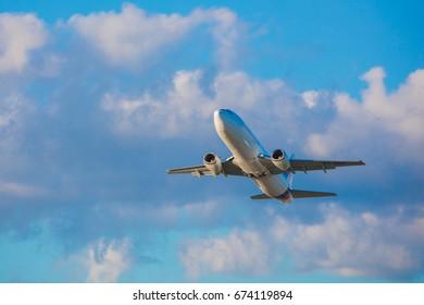 Tallinn, Estonia - July 5, 2017: Swift Air cargo plane takes off from Airport of Tallinn