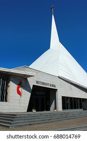 TALLINN, ESTONIA - JULY 7, 2017: United Methodist Church, the largest modern church in Estonia which is known for its striking architecture and wonderful acoustics.