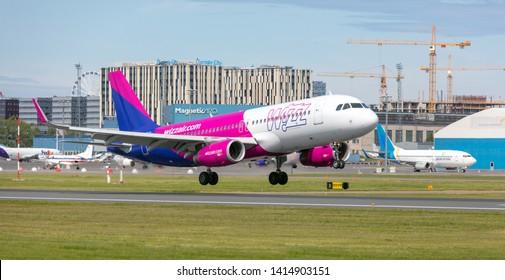 Tallinn, Estonia - June 03, 2019: Airbus A320-232 aircraft HA-LWS Wizz Air lands at Tallinn Airport