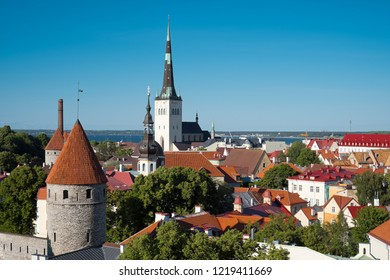 Tallinn, Estonia - June 13, 2016: Classical view over the Red Roofs of Old Town Tallinn