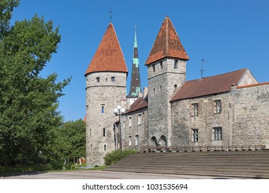 Tallinn, Estonia. Loewenschede Tower and Nunnadetagune Tower (Tower behind Nuns) of the medieval city wall, and spire of St. Olaf's Church between them.