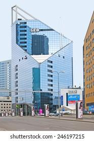 TALLINN, ESTONIA - MAY 1, 2011: Modern architecture of the city. Bank SEB main building. Estonia is member state of the European Union
