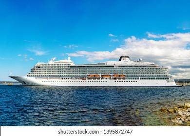 Tallinn / Estonia - May 12, 2019: Cruise ship MV Viking Sky of the Viking Ship Fleet (Viking Ocean Cruises) docked in Vanasadam Tallinn Harbour in Estonia. Cruise ship in the Baltic Sea.