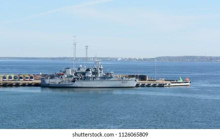 TALLINN, ESTONIA - May 13, 2018: Lithuanian Naval Force minehunter ship LNS Skalvis M53 at the Port of Tallinn. It is a Hunt-class warship.