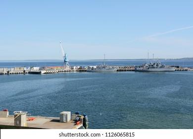 TALLINN, ESTONIA - May 13, 2018: Lithuanian Naval Force minehunter ships LNS Suduvis M52 and LNS Skalvis M53 docked at the Port of Tallinn