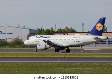 Tallinn, Estonia - MAY 20, 2018 Lufthansa Airbus A319-100 in Tallinn Airport
