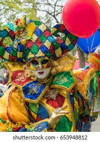 TALLINN, ESTONIA MAY 2017: Unidentified person with carnival mask : TALLINN, ESTONIA MAY 2017: Venetian Carnival