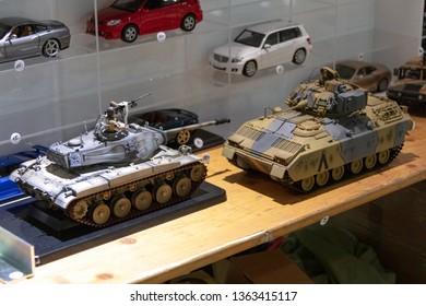 TALLINN, Estonia - MAY 26, 2018: Tallinn Miniature Model Exhibition  Minimaailm . Miniature model of millitary tanks