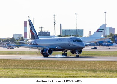 Tallinn, Estonia - MAY 31, 2018: RA-89064 Aeroflot - Russian Airlines Sukhoi Superjet 100-95B in Tallinn Airport