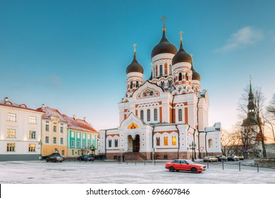 Tallinn, Estonia. Morning View Of Alexander Nevsky Cathedral. Famous Orthodox Cathedral Is Tallinn's Largest And Grandest Orthodox Cupola Cathedral. Popular Landmark. UNESCO World Heritage Site