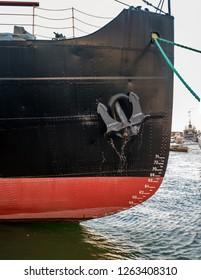 Tallinn, Estonia - November 18, 2018: Suur Toll icebreaker at the pier. The bow of the icebreaker. Icebreaker anchor. The icebreaker steamer is part of the Tallinn Maritime Museum