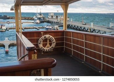 Tallinn, Estonia - November 18, 2018: The observation deck of the icebreaker Suur Toll. The icebreaker steamer is part of the Tallinn Maritime Museum and is based at the seaplane harbor -Lennusadam-