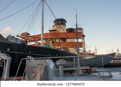 Tallinn, Estonia - November 18, 2018: Deck, captain s bridge of the Suur Toll icebreaker. The icebreaker steamer is part of the Tallinn Maritime Museum and is based at the seaplane harbor -Lennusadam