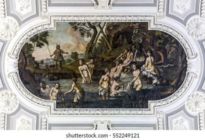 TALLINN, ESTONIA - NOVEMBER 2016: Kadriorg Palace interiors, ceiling with 1746 fresco Diana and Actaeons in Tallinn, Estonia