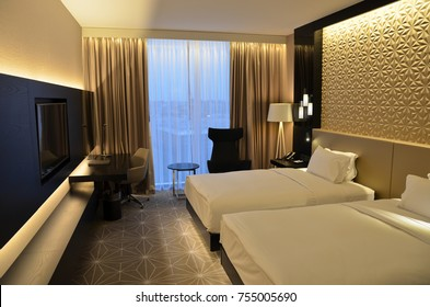 TALLINN, ESTONIA- OCTOBER 25th, 2017: Luxury HILTON hotel room interior.