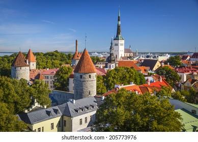 Tallinn, Estonia old city skyline.