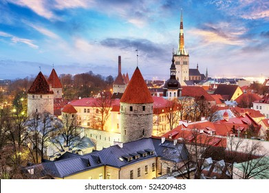 Tallinn, Estonia old city view from Toompea Hill at sunrise