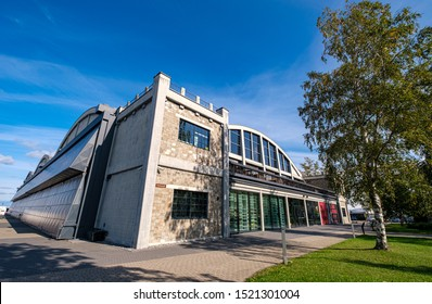 TALLINN, ESTONIA - SEP 17, 2019: Main entrance of the Seaplane Harbour (Estonian: Lennusadam). It is is part of the Estonian Maritime Museum and features seaplanes, vessels and submarines.