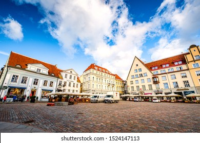 TALLINN, ESTONIA - SEP 17, 2019: Tallinn Town Hall Square (Raekoja plats) is in Tallinn Old Town with picturesque scenary