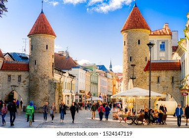 TALLINN, ESTONIA - SEP 17, 2019: The Viru gate of Old Town Tallinn, which is consisted of two towers and is the most recognizable entrance of Tallinn Old Town