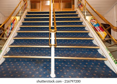 TALLINN, ESTONIA - SEP 7, 2014: Stairs at the Cruiseferry of the Estonian company Tallink. It is one of the largest passenger and cargo shipping companies in the Baltic Sea region
