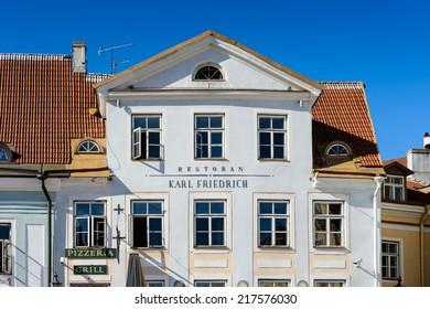 TALLINN, ESTONIA - SEP 8, 2014: Architecture on the City Hall square in the Historical Centre of Tallinn, Estonia. It's part of the UNESCO World Heritage site
