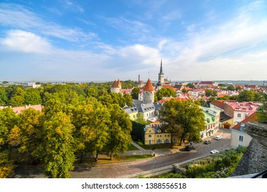 Tallinn, Estonia - September 10 2018: Afternoon view from Toompea Hill overlooking the medieval walled city of Tallinn Estonia on an early autumn day in the Baltic region of Northern Europe.