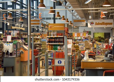 Tallinn, Estonia - September 2, 2017: minimarket - view from the entrance, store house