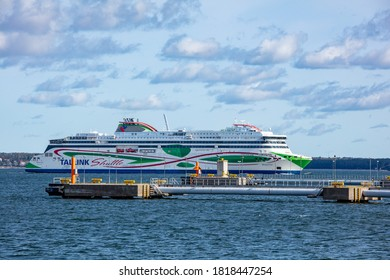 Tallinn, Estonia - September 20, 2020: Tallink Shuttle at bay of Tallinn