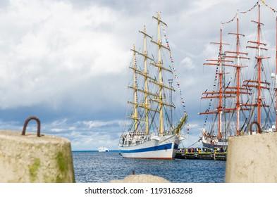 """TALLINN, ESTONIA - SEPTEMBER 23, 2018. The Russian barque """"Sedov""""  in Tallinn port."""