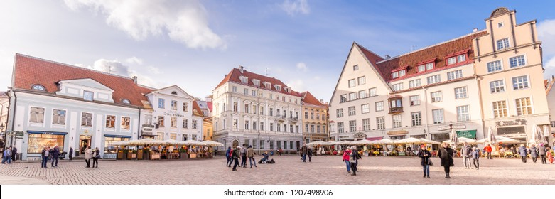Tallinn, Estonia - September 29, 2018: Medieval Town Hall and Town Hall Square Raekoja of Tallinn, the capital of Estonia.