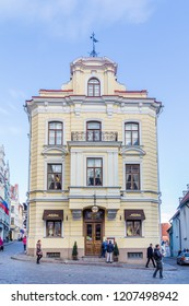 Tallinn, Estonia - September 29, 2018: Building of Cafe Maiasmokk the oldest operating cafe in Talinn and in Estonia. Established in 1864. With unchanged interior.