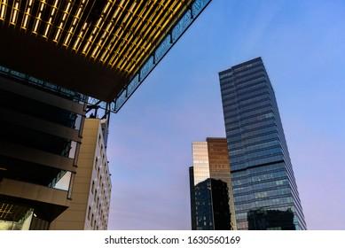 Tallinn, Estonia - September 3, 2019: Tallinn business district from below. Glass skyscrapers