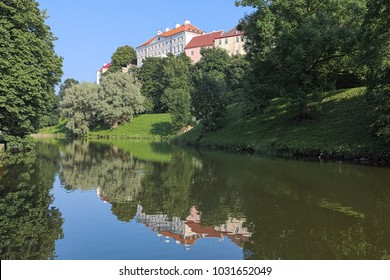 Tallinn, Estonia. View of Stenbock House from Snelli pond (the only survived part of the former fortress moats) in Toompark at the foot of Toompea Hill. The Stenbock House was built in 1787-1792.