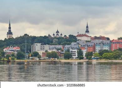 Tallinn old town cityscape panoramic view. Tourism landmark. Estonia. Europe