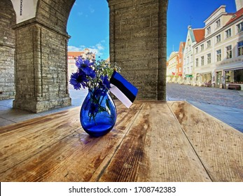 Tallinn old Town Hall Square Estonian state flag, national symbols of a blue bouquet of cornflower in a blue vase on wooden  table top , independence day, capital city ,visit   Estonia