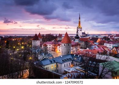 Tallinn Oldtown at dawn.