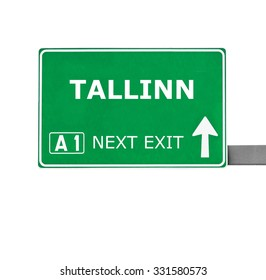 TALLINN road sign isolated on white